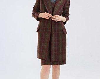 Wool winter coat jacket Burgundy wool coat Plaid wool coat  Mad men coat Tartan coat Long wool jacket Plus size coat  by Mrs Pomeranz