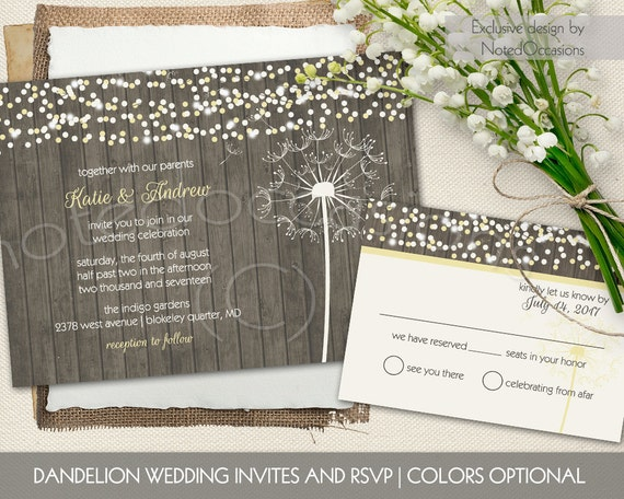 wedding invitations dandelion blowing in the wind country wedding