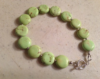 Green Bracelet - Magnesite Gemstone Jewelry - Sterling Silver Jewellery - Beaded