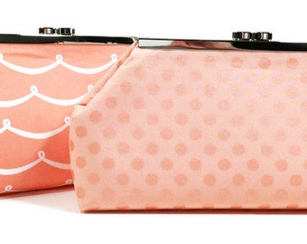 Coral Salmon Monogrammed Clutch Bridesmaid Clutches Wedding Bags Bridal Party Gifts