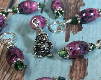 Garden Gnome Stitch Marker Set- Pink Snag Free Beaded Stitch Markers - Gifts for Knitters