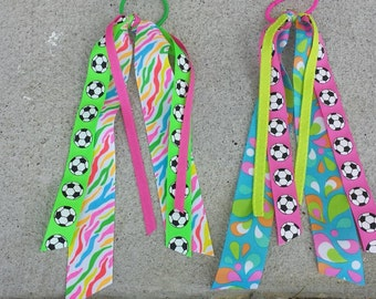 Neon soccer streamer ribbons