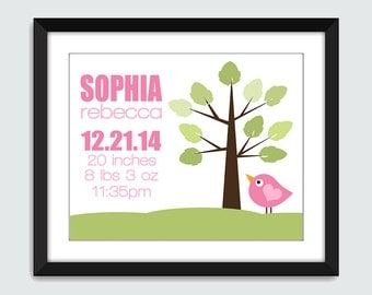 Baby Announcement, Nursery Poster, Tree and Bird Birth Announcement Wall Print. Birth Announcement Wall Art. Custom Birth Announcement 8x10