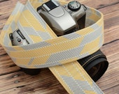 dSLR Camera Strap  - Grey and Yellow - Herringbone - Winter Fashion, Winter Accessories