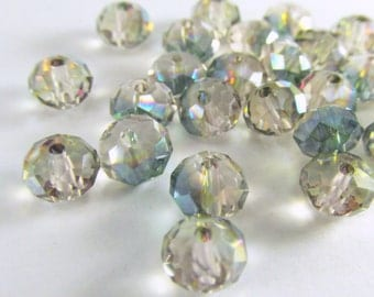 30 Green Clear and Pink Colorized Chinese Crystal Glass 8mm x 6mm Rondelle Jewelry Beads