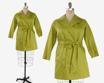 60s CHARTREUSE Green Matte Satin JACKET / 1960s Acid Green Belted Trench Coat M - L