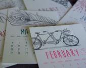 2016 Illustration Collection Desk Calendar, hand drawn with base, letterpress printed eco friendly SALE