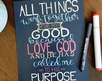 Romans 8:28 Printable Art Print