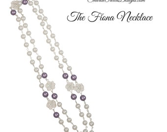 The Fiona Crystal Pearl Necklace - Long Length -Lavender with White and White Floral