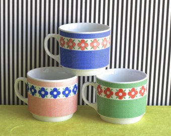 Vintage set of Three German Retro Mugs with Floral Pattern