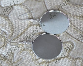 2pair 20mm,25mm platina tone Earwires Hook With Round Cabochon Pad,Flower Earrings hook,earrings finding base