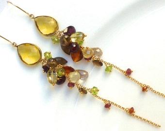 CITRINE /// Bezel and Ge Cascade Chandelier Earrings///