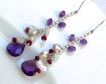 Amethyst, Keshi and Ruby Cascade Chandelier Earrings