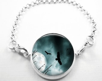 Eagle Bracelet Glass Tile Bracelet Glass Tile Jewelry Eagle Jewelry Bird Bracelet Silver Bracelet Silver Jewelry Moon Jewelry Moon Bracelet