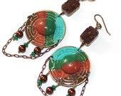 Orient Express - Boho Brass, Wood, Druzy, Jade, and Glass Earrings - Cinnamon, Jade, Teal, and Brown