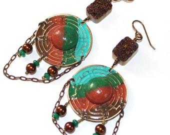Orient Delight - Boho Brass, Wood, Druzy, Jade, and Glass Earrings - Cinnamon, Jade, Teal, and Brown