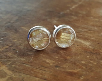 Rutilated Quartz Stud Earrings Rutilated Quartz Studs Rutilated Quartz Earrings Womens Gift for Her Sterling Silver Rutilated Quartz Jewelry