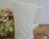 "Vintage White Milk Glass 5"" Creamer Milk Pitcher Shabby Farmhouse Decor"