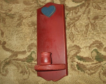 Rustic Shabby Candle Holder Sconce Hand Painted Wood Rusty Burgundy Red with Blue Heart Vintage Wall Decor