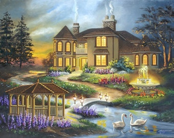 House swans gazebo  landscape painting by RUSTY RUST 30x40 oils on canvas / S-118