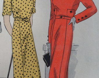 Vintage 1930s Dress Vogue Pattern 6557 Size 14