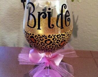 Bride wine glass cheetah print