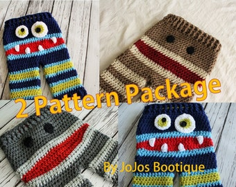 PATTERN Package - Crochet Monkey and Monster Baby Pants PATTERNS  - PDF Baby Monkey Pants and Monster Pants Patterns - by JoJo's Bootique