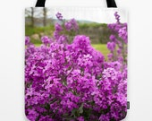 FLORAL TOTE BAG - Sweetrocket in Bloom - Purple Flowers - girls tote, womens tote, gym tote, grocery tote, yarn tote, craft tote