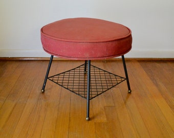 Mid Century Modern Upholstered Footstool or Ottoman