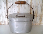 SALE! Vintage Metal Pail with Handle, Pail with Lid