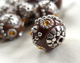 5 Large Brown, silver citrine Yellow Focal Beads,  20mm x 20mm, 1mm hole
