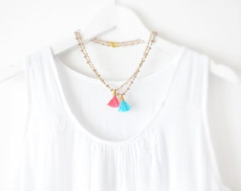 Simple and Delicate Beaded Necklace - Multi Tassels Necklaces - Multi Pink Purple Necklace - Pastel Tassel Necklace - Free Shipping