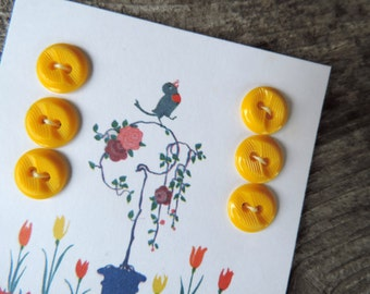 Vintage Buttons Yellow Brown Plastic Sewing Button on Handmade Card Free Shipping Victorian Graphic Design Craft