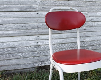 Vintage Retro Red and White Desk Office Chair