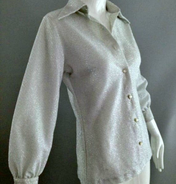 Vintage 70s Metallic Silver Blouse Shirt Top Womans Lurex Disco Top XS