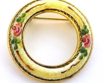 Vintage enamel circle brooch, Victorian reproduction, Yellow guilloche enamel with pink roses