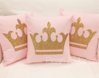 Gold Crown Throw Pillow : Colored Decorative Throw Pillow W/INSERT Gold or Silver