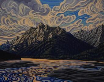 Medicine lake, 8X10, art print, canadian artist, ready to frame
