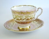 Vintage Tea Cup and Saucer Pink with Heavy Gold Gilt  /  Royal Stafford Teacup and Saucer /  Cup and Saucer Buckingham Pattern