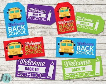Back to School, Bag Toppers, Bag Tags, Treat Tags, Welcome, First Day of School, Color, School Bus, Pencil, Printables, Digital Download,
