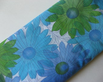 Sheer curtain fabric with 60s floral  green blue turquoise on white 3 yards available end of roll