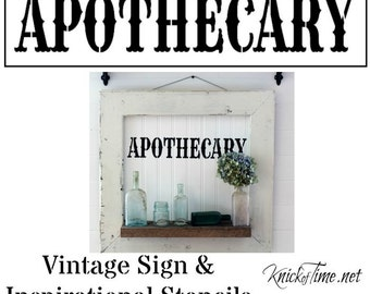 Apothecary Sign Stencil  Home Decor Vintage Sign Stencils