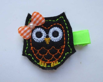 Halloween Owl Felt Embroidered Hair Clip - Party favor - Feltie Clip - Owl Felt clip