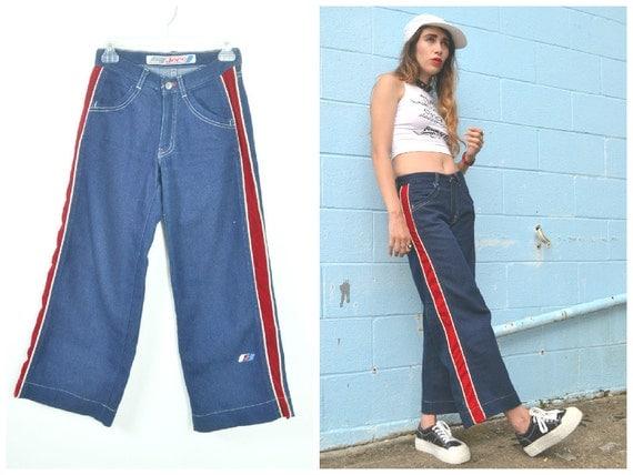 JNCO wide leg dark wash Red stripe athletic Jeans