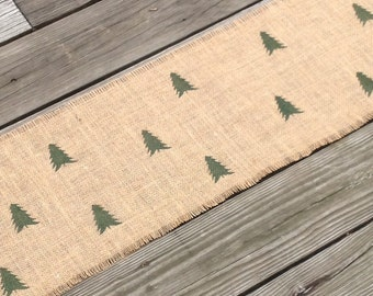 Burlap Tree Farm Table Runner 12x48 to 84 Rustic Fir Tree Table Decor by sweetjanesplan