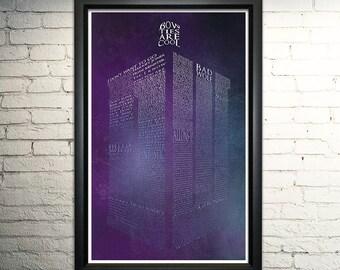 Tardis Word Art- Doctor Who Poster, Doctor Who Gift