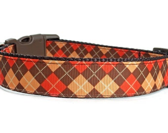 Argyle Dog Collar / Orange Brown Dog Collar / Plaid Dog Collar / Nylon Webbing Dog Collar / Adjustable Dog Collar