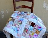 Baby Quilt, Crotchet Cotton Lace Trim, Shabby Chic Patchwork