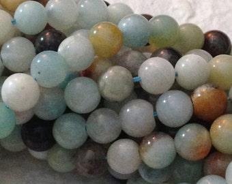 Multi-Color Amazonite Beads - 6mm Round - Genuine Semi-Precious Gemstones -  15.5 inch Strand G3