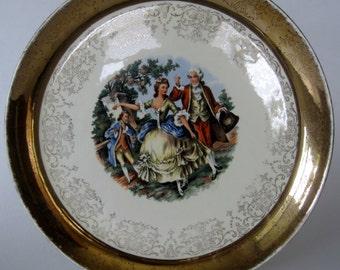 Vintage SABIN 22K Crest-O-Gold George & Martha Plate 1950s